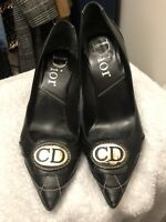 Christian Dior Black Leather Shoes, Pumps , Heels, Silhouettes, European Size 37