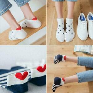 5X/set Fashion Women Men Soft Socks Casual Work Heart-shaped Cotton Soft So F5X3
