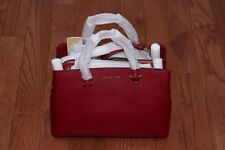 NWT Michael Kors $368 Savannah Large Satchel Leather Handbag Purse Tote Cherry