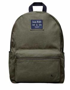 Jack Wills Stanley Canvas Backpack Bag Rucksack Khaki *REFOFB40