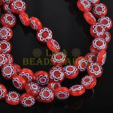 20pcs 8mm Rondelle Lampwork Millefiori Glass Flowers Charms Loose Beads Red