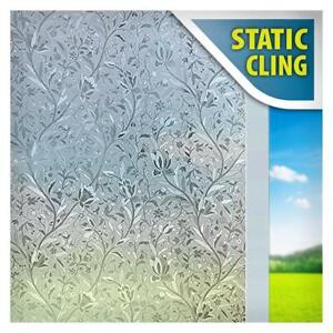 BDF 1CZ7 Window Film Non-Adhesive Floral Etched Decorative Privacy Static Cling