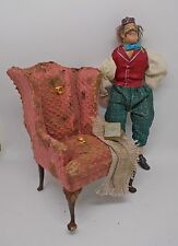 Dollhouse Miniature deep pink Bespaq Queen Anne Chair aged / burst springs