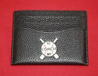 COACH MEN'S SLIM CARD CASE W/BASEBALL PATCH BLACK PEBBLED LEATHER 6 CARD SLOTS