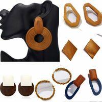 Women's Geometric Round Stud Earrings Handmade Vine Braided Drop Jewelry Gift