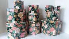 Set of 10 Octagon Rose Storage Nesting Boxes Decor Black Cream Pink Blue