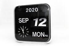 Big Flip Auto Calender Quartz Clock Vintage Style Retro Uhr Kalender analog Weiß