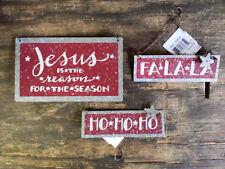 Christmas Tin Ornaments Set/3 JESUS IS THE REASON - HO HO HO- FA LA LA