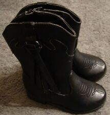 Kid's Western Style Black Cowboy Boots - Size 8 Toddler~ Faux Leather~Cute!  114