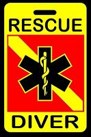 Safety Yellow RESCUE DIVER SCUBA Diving Luggage/Gear Bag Tag - New