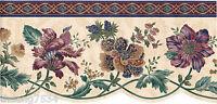 Victorian Burgundy Blue Paisley Jacobean Floral Flower on Cream Wallpaper Border