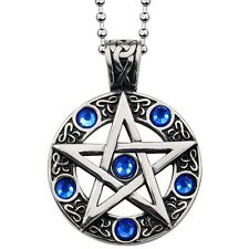 Antique Silver Tone Pentacle Pentagram Pendant Necklace Blue Cubic Zirconia