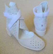 Chanel White Suede Short Boots w/Velcro Size 37 - US Size 7 - Retail $1125