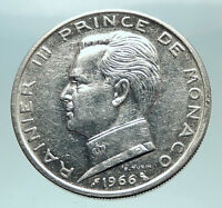 1966 MONACO King Rainier III Crown Antique Genuine Silver 5 Franc Coin i81954