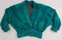 Vintage 1980s Vera Pelle Kelly Green Suede Leather Cropped Jacket Women's 42 ~12