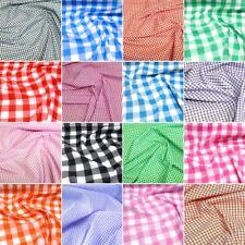 "Polycotton Fabric 1/8"" 1/4"" 1""  Gingham Check Dress Craft School Summer"