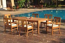 "7pc Grade-A Teak Dining Set 122"" Caranas Rectangle Table 6 Osborne Arm Chair"