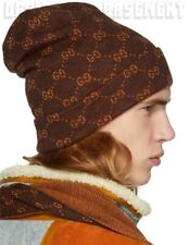 GUCCI brown & orange GG Alpaca knit M oversized BEANIE Skully hat NWT Auth $340!