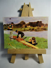 Row Boat ACEO Original PAINTING by Ray Dicken a Frederic Bazille