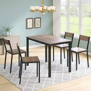 4-Seater Dining set wood table und steel frame 5-piece