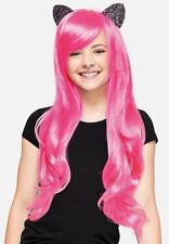 New Justice kitty hot pink Wig halloween costume child tween one size girl