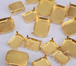 Faceted Glass Rectangle Jewels's Settings For Sewing On Size Selection
