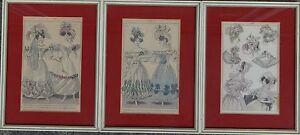 3 Modestiche um 1870, gut gerahmt/Glas, RG 26x20 cm,  (243/13042)
