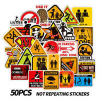 50Pcs Warning Sign Stickers For Skateboard Luggage Laptop Car Decals Cxz