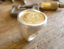 Sello plata enorme redonda con pieza oro 20 Francos Napoleón cabeza no laureado