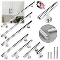 Solid Polished Chrome Modern Cabinet Handles Pulls Kitchen Hardware Stainless