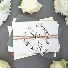 White Floral Wedding Invitations or Evening Reception Invites FREE Envelopes
