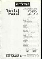 Rare Original Factory Rotel RX 2001 2002 AM FM Stereo Receiver Service  Manual