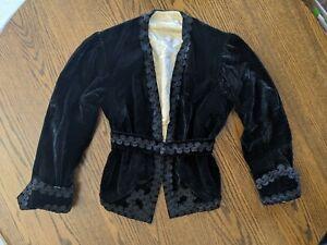 Vtg 30s 40s black velvet blazer sz S coat lace accents victorian satin lined