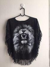 LION Bolts Tiger Animal Fashion Women's Poncho Short T-Shirt