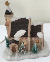 Vintage Christmas Valley Hollyshire Place Church Collectible with Cross 1991