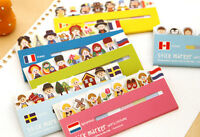 120 Pcs Cute World Costume Memo Adhesive sticky notes school kids index