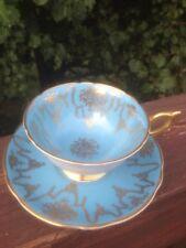 COALPORT BONE CHINA TEA CUP & SAUCER BLUE & GOLD GARLAND Made in England