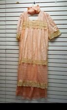 Lace African Senegalese Ethnic Clothing/3pc Wrapper Dashiki Skirt Peach-2191