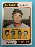 1974 Topps Baseball Card # 306 Earl Weaver Baltimore Orioles
