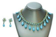 COCO CHANEL Maison Gripoix 1930's Faux Turquoise Necklace Earrings Set
