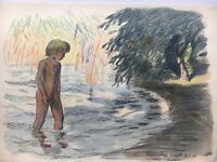 Badendes Girl at Lake Shore - 1951 - Aquarell Watercolour Gouache 9 3/8X13 3/8in