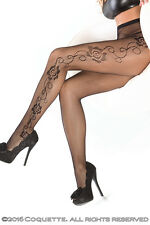 Sexy Fishnet Black Tights with side Leg rose detail tattoo 8 10 12 CQ1789 S/M