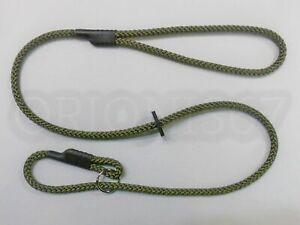 HANDMADE ENGLISH GUN DOG SLIP LEAD  8mm BRAIDED ROPE OLIVE LENGTHS 1.2m - 10m