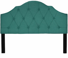 Cortesi Home Elsie Tufted Queen Size Headboard, Teal Color Linen Fabric