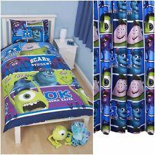 """Niños Disney Pixar Monsters Inc Cama individual cover set y cortinas de 66"""" X 54"""""""