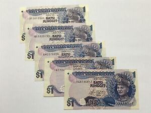 B0022 - 5pcs Malaysia RM1 Ringgit Aziz taha banknote 5th series - EF