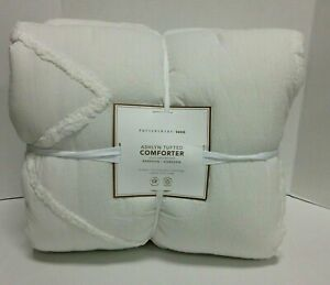 Pottery Barn PB Teen Ashlyn Tufted Comforter Twin XL Ivory quilt blanket cover