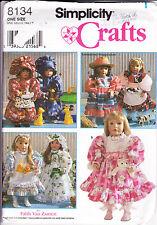 "Simplicity Pattern 8131 Faith Van Zanten 18"" Doll Clothes VTG  Dress Bonnet Cap"