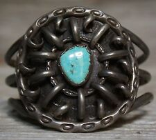 MASSIVE OLD PAWN NAVAJO NATIVE AMERICAN TURQUOISE CUFF BRACELET STERLING SILVER