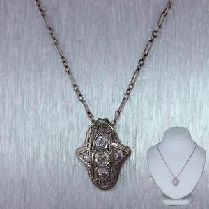 "1930's Antique Art Deco 14k White Gold 0.75ctw Diamond Filigree 18.75"" Necklace"